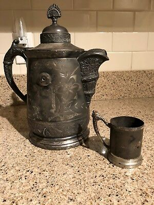 Victorian1880's J.A. Babcock & Co Silver Tilting Coffee PotPitcher &Cup
