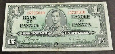 1937 Bank Of Canada $1 Dollar Note, Circulated Condition, Lot#9