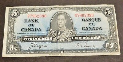1937 Bank Of Canada $5 Dollar Note, Circulated Condition, Lot#11