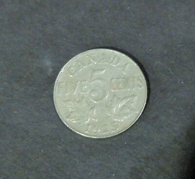 1925 Key Date Canada 5 Cents Coin, Very Good Condition, Lot#28