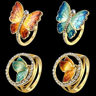 1Pc Charm Gold Tone Crystal Enamel Butterfly Ring Women Lady Jewelry Gift 2019