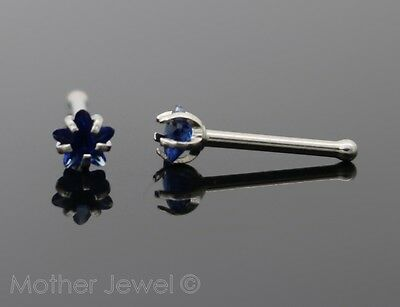 Star 3Mm Sapphire Blue Cz 20G Surgical Steel Mens Womens Nose Stud Bone Pin