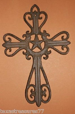 (1)pc, LONE STAR TEXAS COUNTRY WESTERN AMERICANA WALL DECOR CAST IRON CROSS #3