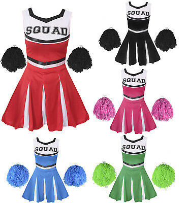 Cheerleader Fancy Dress Costume Childs Cheer Uniform Outfit High School Sport