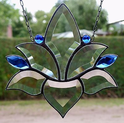 Bleiverglasung Bleiglas Fensterbild Suncatcher Facetten- Lotus in Tiffany