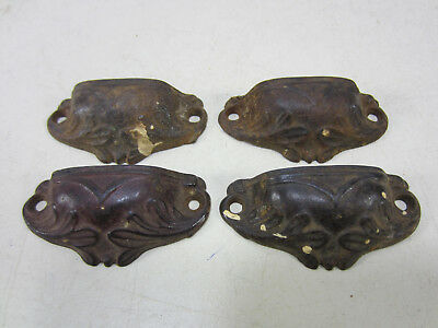 4 Antique Pat. Date 1868 Cast Iron Victorian Bin Style Drawer Pulls  #512