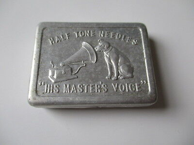 VINTAGE HIS MASTER'S VOICE GRAMOPHONE Half Tone Needles TIN With Content