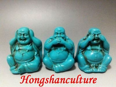 OLD TIBET TURQUOISE HAND CARVED 3 SMILE THE BUDDHA zrf