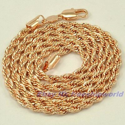 """24""""4mm25g REAL STYLISH 18K ROSE GOLD GP TWIST ROPE NECKLACE SOLID CHAIN 4913n"""