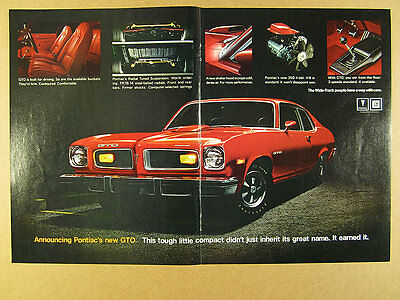1974 Pontiac GTO interior exterior color photos vintage print Ad