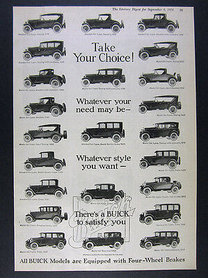 1924 Buick 23 Models Illustrated roadster sedan coupe town car vintage print Ad