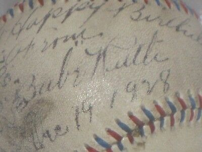 BABE RUTH Signed Baseball Blue & Red Stitch New York Yankees READ LISTING