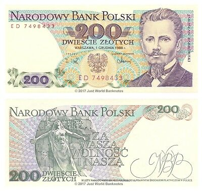 Poland 200 Zlotych 1988 P-144c Banknotes UNC