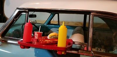 """Orig """"SONIC"""" Drive-In Red Plastic Car Hop Window Food Tray, Made in U.S.A. ~ EUC"""