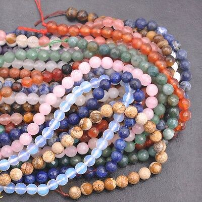 6MM 8MM 10MM 12MM Natural Gemstone FACETED Round Spacer Loose Beads