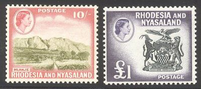 RHODESIA / NYASALAND #170-71 Mint - 1959 QE II High Values ($75)