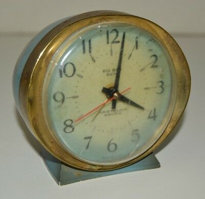 Vintage Big Ben Mid Century WESTCLOX Blue Metal Alarm Clock NEEDS FIX PARTS