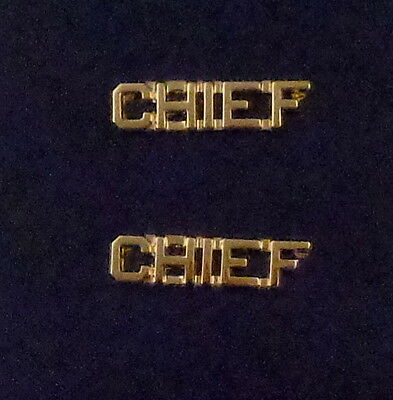 "CHIEF Gold 1/4"" Lettering/Letters Pair Collar Pins Rank Insignia (police/fire)"