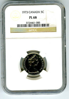 1973 Canada 5 Cent Nickel Ngc Pl68 Proof Like Strike Stunning Coin Top Census