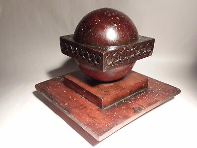 Antique Architectural Newel Post Cap Finial Victorian Wood Turned Ball W/ Base