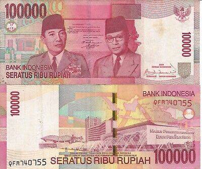 Lot Of 5 Indonesian Rupiah 100,000 Bank Note Idr Circulated Indonesia