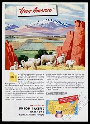 1945 Utah sheep herd & train art Union Pacific Railroad vintage print ad