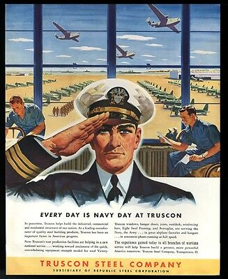 1942 US Navy officer & Naval air station art Truscon Steel vintage print ad