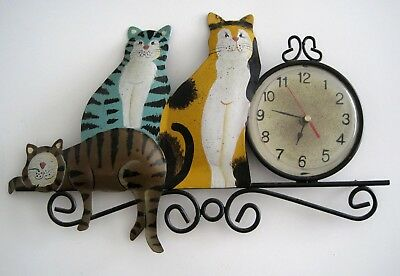 Metal Art 3 Kitty Cats Wall Clock Folk Art Whimsical Picture Frame Tabby Calico