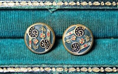 Lot of 2 Antique Brass Buttons Painted Paisley & Flower Pattern - 13mm