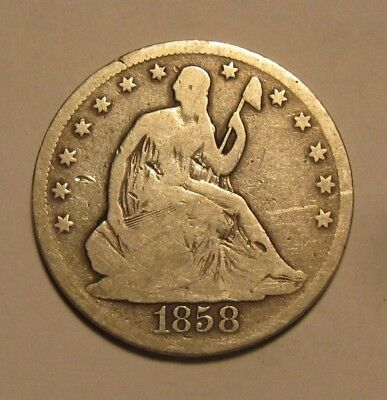1858 S Seated Liberty Half Dollar - Circulated Condition RARE - 137SA