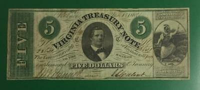 "1862 $5 US Virginia ""LARGE SIZE"" Currency VG/FINE! Old US Paper Currency"