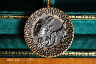 Amazing Antique Picture Button Showing Large Flowers & Fancy Brass Frame - 38mm