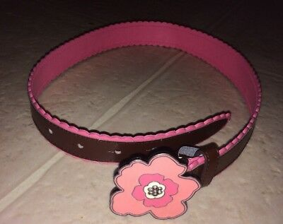 Girls Gymboree 5-7 Brown Belt Pink Flower Leather
