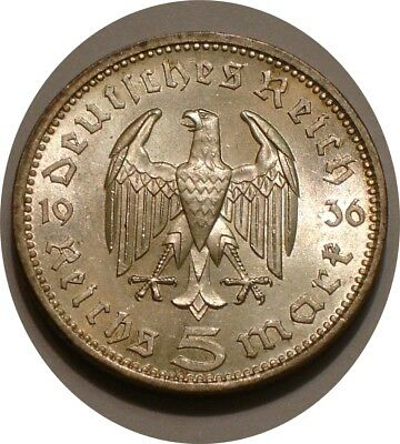 1936 A Silver 5 reichsmark of Germany sparkling Choice BU Hindeburg Issue
