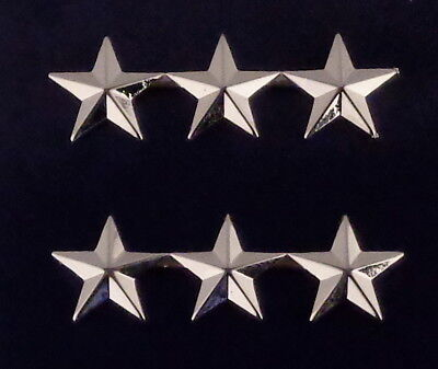 "3 stars 5/8"" Silver Pair Collar Pins Rank Insignia police chief/deputy/assistant"