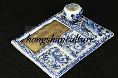 CHINESE PORCELAIN PAINTING QING DYNASTY QIANLONG DRAGON WORD INK STONE zrf