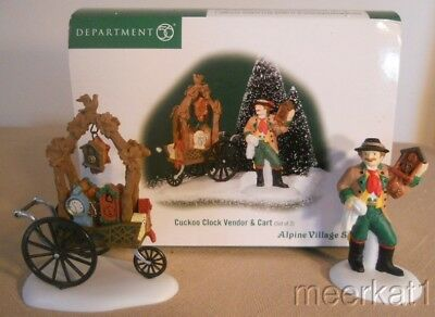 2001 Dept. 56 Alpine Village Accessory - Cuckoo Clock Vendor & Cart