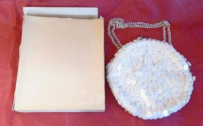 White Beaded Sequin Satin Evening Clutch Purse Bag Chain Hong Kong Vintage