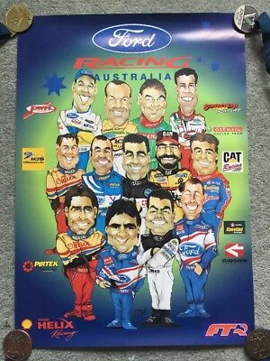Ford Racing Australia - Ford Drivers Poster - Circa 2000 - V8 Supercars