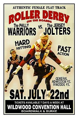 ROLLER DERBY 1973 Wildwood NJ Convention Hall POSTER Art Rendition THouse 2016