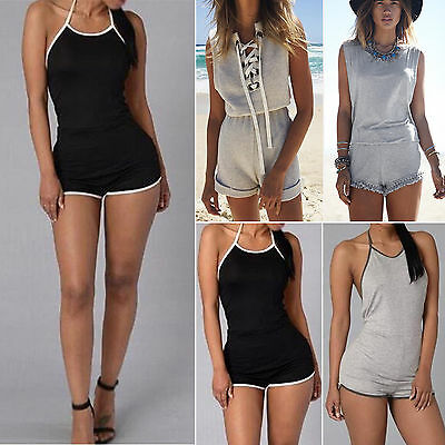 Women Sleeveless Bodysuit Jumpsuit Summer Casual Playsuit Beach Shorts Trousers