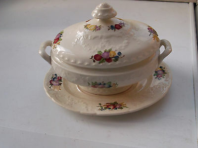 Oval Minton Lidded Sauce Tureen And Under Plate  With A  Fruit Pattern