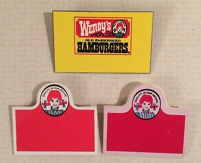 Vintage Wendy's Name Tag - Lot Of 3 Different - Nametag