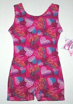 Nwt New Moret Wilderness Hearts Tank Biketard Unitard Heart Pink Glitter Girl