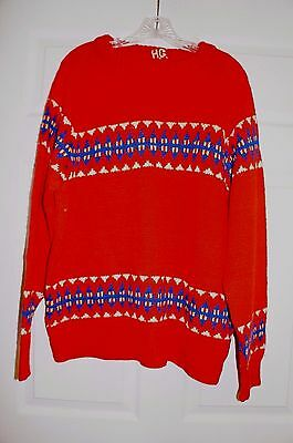 Vintage 1940's Wool  Hand Knit Red Fair Isles Nordic Norway Ski Sweater L