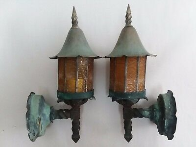 "Antique 14"" Arts & Crafts Copper Leaded Glass Porch Lights Exterior Lamp Sconces"