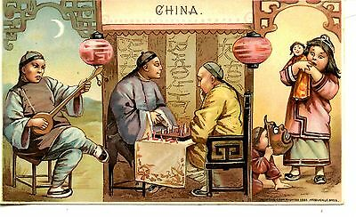 China Sports Pastimes-1893 Arbuckle Bros Coffee-Victorian Advertising Trade Card