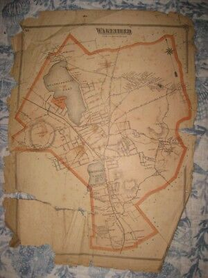 Antique 1875 Wakefield Middlesex County Massachusetts Map Rare Detailed Nr