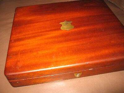 Antique Victorian Mahogany Wooden Cutlery Box Lift Out Tray Brass Cartouche Vgc