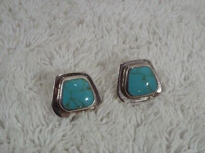 Mexico .925 Sterling Silver Turquoise Stone Pierced Earrings (D79)